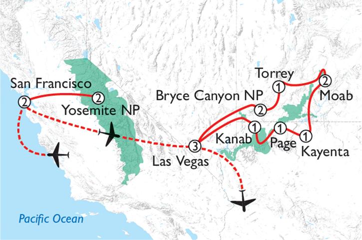 San Francisco & National Parks Map