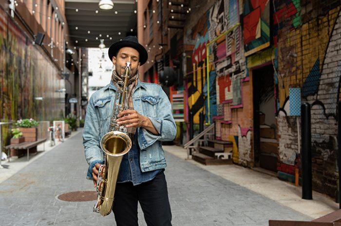 Saxophone player in Detroit