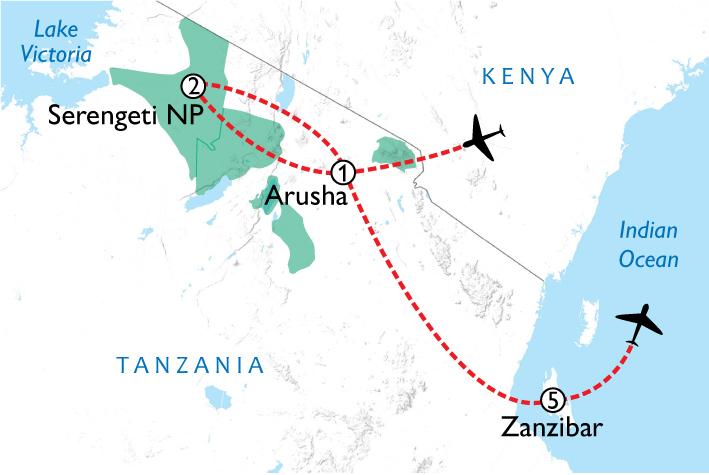 Serengeti & Zanzibar Map