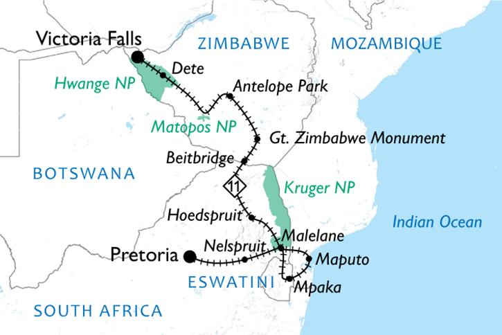 Shongololo Express Southern Cross Map