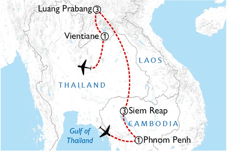 Sights Of Cambodia And Laos Map