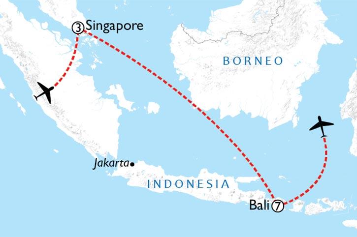 Singapore And Bali Map