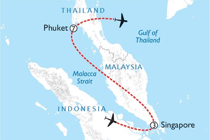 Singapore And Phuket Escape Map