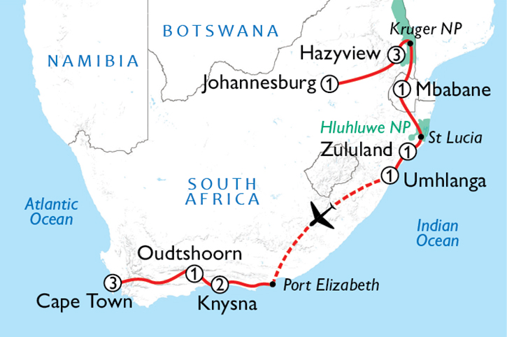South Africa Odyssey Map