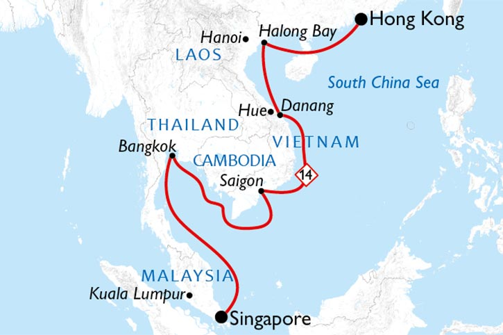 South East Asia Cruise Map