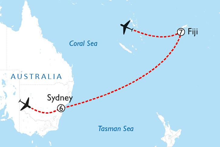 Sydney & Fiji Map