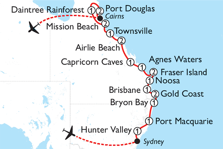 Sydney to the Great Barrier Reef Map