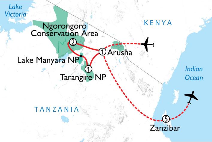 Tanzania Wildlife & Beach Map