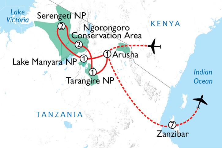 Tanzania & Zanzibar Map