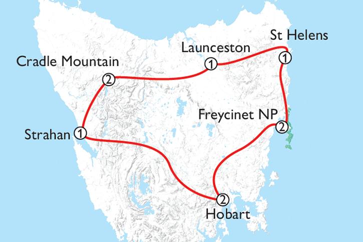 Tasmania's Grand Circle Map