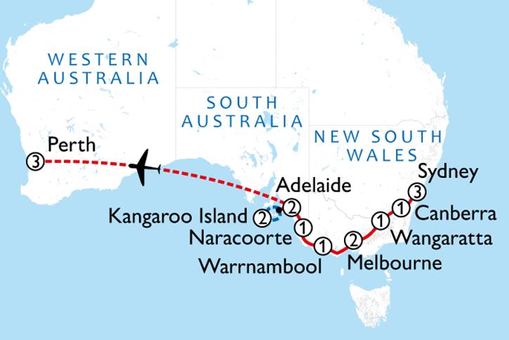 Taste of Southern Australia Tour Plus Map