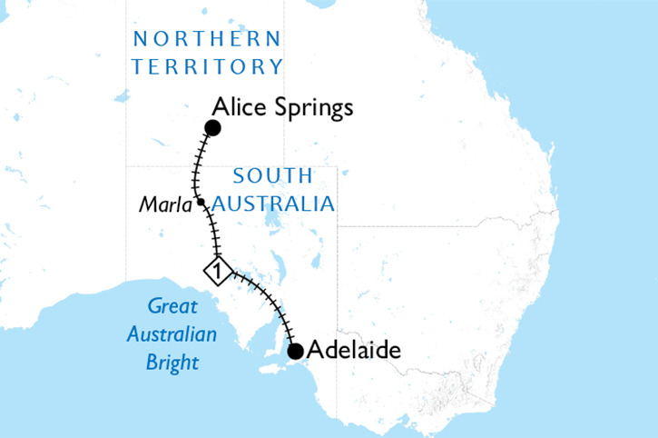 The Ghan Adelaide to Alice Springs Map