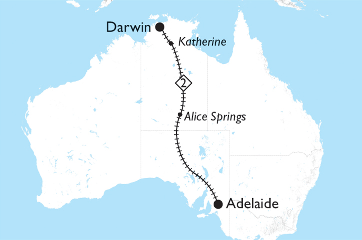 The Ghan Adelaide to Darwin Map