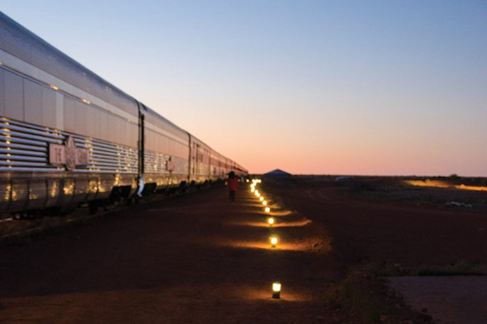The Ghan Outback Lit At Night