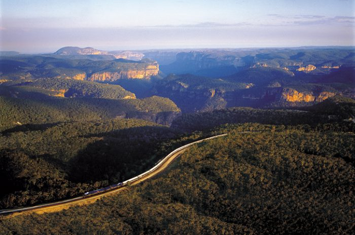The Indian Pacific With Scenic Backdrop