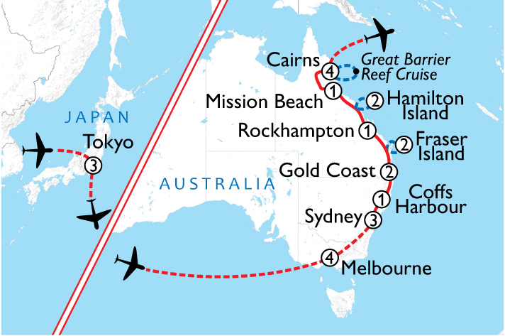 Tokyo and East Coast Australia Map