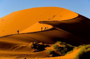 Trekking The Top Of The Dunes, Namibia
