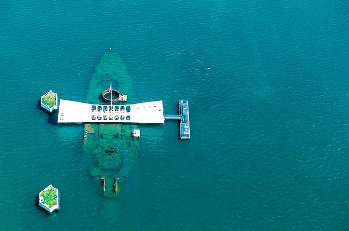 USS Arizona Memorial of Pearl Harbor in Honolulu, Hawaii
