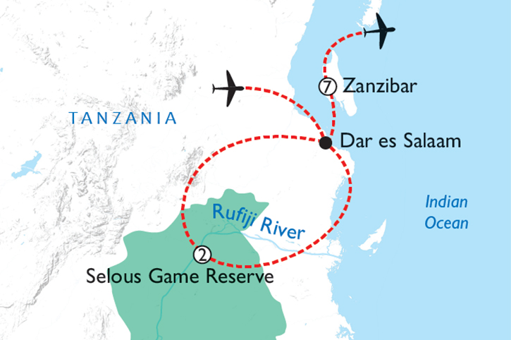 Selous & Zanzibar Map