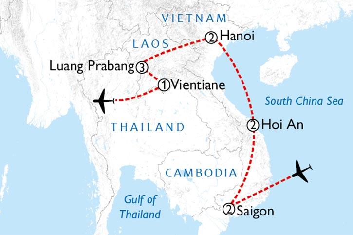 Vietnam And Laos Explorer Map
