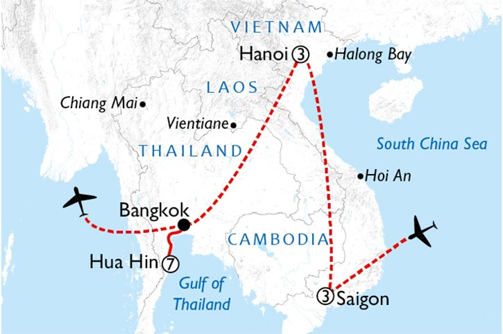 Vietnam Cities And Beaches Map
