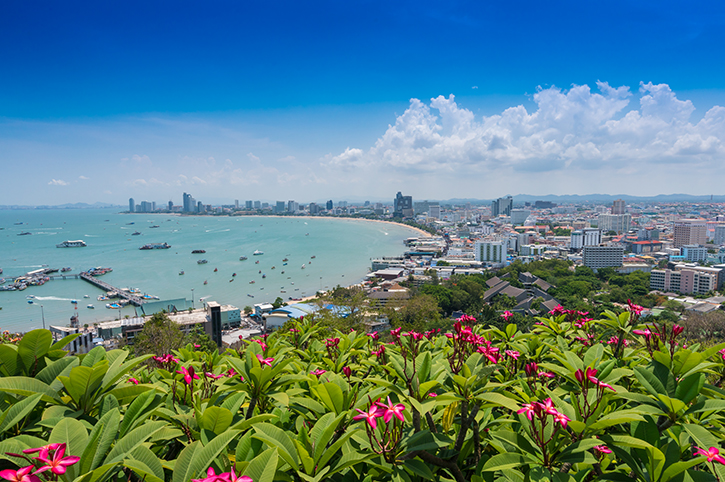 View-of-Pattaya-city-beach-at-Pratumnak-Thailand