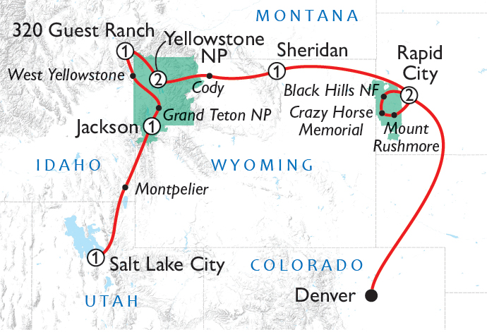 Wild West Cowboys & Buffalos Tour Map
