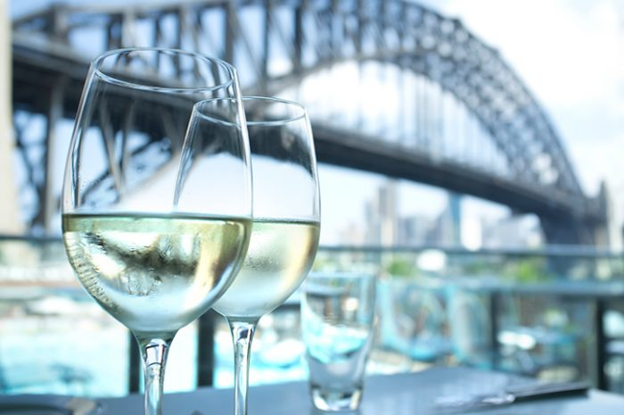 Wine In front Of Sydney Harbour Bridge