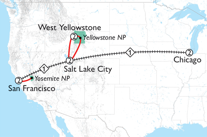 Yellowstone to Yosemite Map
