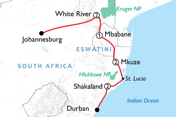 eSwatini, Kruger & Coast Map