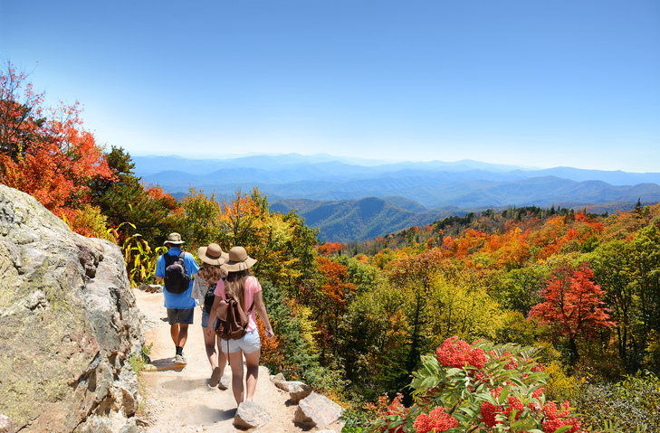 Hikers, Blue Ridge Mountains, North Carolina, USA
