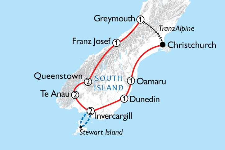 South Island Experience Map